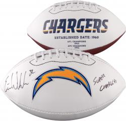"Eric Weddle San Diego Chargers Autographed "" Super Chargers"" White Panel Football"