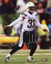 "Eric Weddle San Diego Chargers Autographed White Jersey 08"" x 10"" Vertical Photograph"