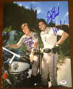 Erik Estrada & Larry Wilcox CHIPS Ponch & Jon Dual Signed 11x14 PSA/DNA COA #3