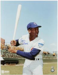 Ernie Banks Chicago Cubs Autographed 16'' x 20'' Bat Pose Photograph - Mounted Memories