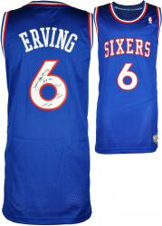 Julius Erving Philadelphia 76ers Autographed Blue Swingman Jersey with Multiple Inscriptions-Limited Edition of 12 - Mounted Memories