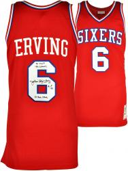 Julius Erving Philadelphia 76ers Autographed Authentic Red Jersey with Multiple Inscriptions-Limited Edition of 12