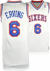 Julius Erving Philadelphia 76ers Autographed Throwback White Swingman Jersey with Multiple Inscriptions-Limited Edition of 12 - Mounted Memories