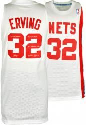 Julius Erving New Jersey Nets Autographed White Throwback Swingman Jersey with Multiple Inscriptions-Limited Edition of 12 - Mounted Memories