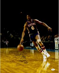"Julius Erving Autographed 76ers 16x20 Photo with ""Dr. J"" Inscription"