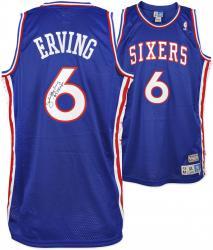 Julius Erving Philadelphia 76ers Autographed Adidas Swingman Blue Jersey with 83 Champs Inscription
