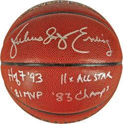 Julius Erving Philadelphia 76ers Autographed Spalding Indoor Outdoor Basketball with Multiple Inscriptions-Limited Edition of 12 - Mounted Memories