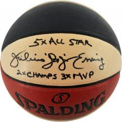 Julius Erving Philadelphia 76ers Autographed Spalding ABA Basketball with Multiple Inscriptions-Limited Edition of 12 - Mounted Memories
