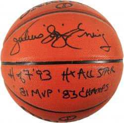 Julius Erving Philadelphia 76ers Autographed Spalding Indoor Outdoor Basketball with Black Ink Multiple Inscriptions - Mounted Memories