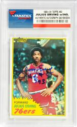 Julius Erving Philadelphia 76ers Autographed 1981-82 Topps #30 Card with HOF 93 Inscription