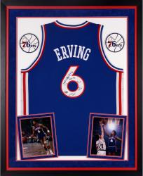 Julius Erving Philadelphia 76ers Autographed Deluxe Framed Adidas Swingman Blue Jersey with Multiple Inscriptions-Limited Edition of 12
