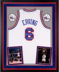 Julius Erving Philadelphia 76ers Autographed Deluxe Framed Adidas Swingman White Jersey with Multiple Inscriptions-Limited Edition of 12