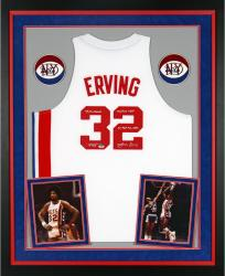 Julius Erving New York Nets Autographed Deluxe Framed Adidas Swingman White Jersey with Multiple Inscriptions-Limited Edition of 12