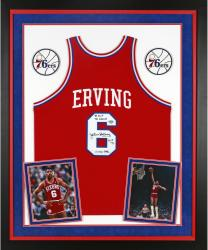 Julius Erving Philadelphia 76ers Autographed Deluxe Framed Authentic Red Jersey with Multiple Inscriptions-Limited Edition of 12