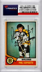 "ESPOSITO, PHIL AUTO ""2 X SC CHAMPS"" (1974-75 TOPPS #200)CARD - Mounted Memories"