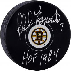 "ESPOSITO, PHIL AUTO ""HOF 1984"" (BRUINS) LOGO PUCK - Mounted Memories"