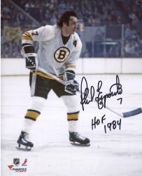 Phil Esposito Boston Bruins Autographed 8'' x 10'' White Vertical Photograph with HOF 1984 Inscription