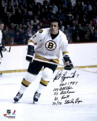 "Phil Esposito Boston Bruins Autographed 16"" x 20"" White Skate Photograph with Multiple Inscriptions"