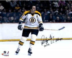 Phil Esposito Boston Bruins Autographed 16'' x 20'' White Horizontal Photograph with SC Champs Inscription