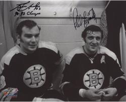 Phil Esposito & Ken Hodge Boston Bruins Autographed 8'' x 10'' Locker Photograph with SC Champs Inscription