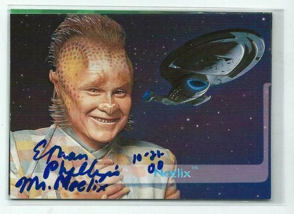 """Ethan Phillips """"Neelix"""" Signed 1995 SkyBox Star Trek Voyager Card #E9"""