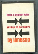 Eugene Ionesco Notes & Counter On Theatre Signed Autograph 1st Edition HB Book