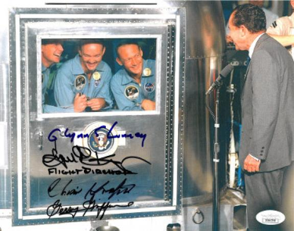 Eugene Kranz signed Apollo 11 Flight Director 8x10 Photo w/ 4 sigs Christopher Kraft/Glynn Lunney/Gerald Griffin- JSA #DD64258