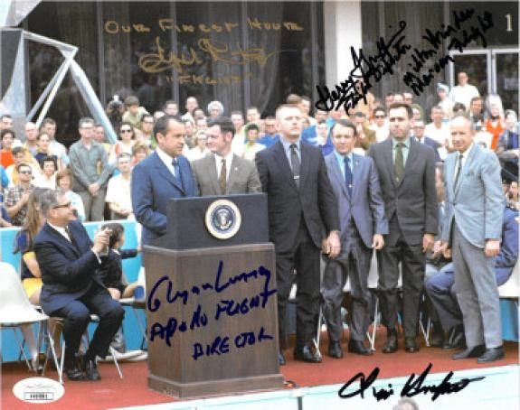 Eugene Kranz signed Apollo 13 Flight Director 8x10 Photo w/ 5 sigs Chris Kraft/Glynn Lunney/Gerry Griffin/Milton Windler-JSA
