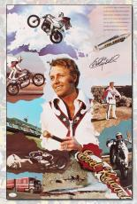 Evel Knievel Autographed Celebrity Motorcycle Jump Daredevil 16x25 Poster