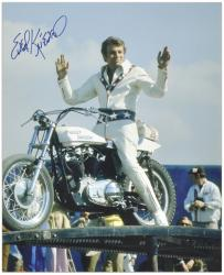 "Evel Knievel Autographed 16"" x 20"" Pose on Bike Photograph"