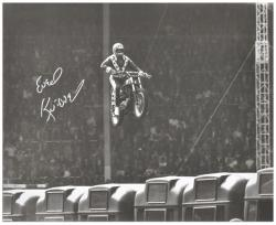 Evel Knievel Autographed 16'' x 20'' Wembley Stadium Photograph - Mounted Memories
