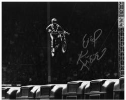 Evel Knievel Autographed 8'' x 10'' Wembly Stadium Jump Photo