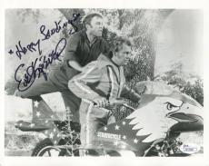 EVEL KNIEVEL HAND SIGNED 8x10 PHOTO       RARE POSE WITH GENE KELLY        JSA
