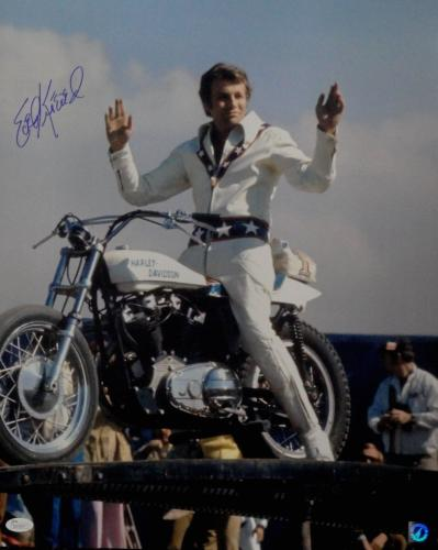 Evel Knievel Hand Signed Autographed 16x20 Photo On Motorcycle JSA  AA53875