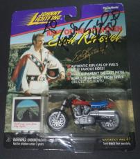 Evel Knievel Legend Signed Autographed 1998 Johnny Lighting Motorcycle Toy W/coa