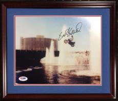 Evel Knievel signed 8x10 action photo framed MINT autograph PSA /DNA COA