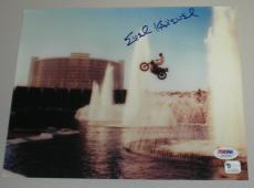 EVEL KNIEVEL Signed Caesars Palace Jump 8x10 Photo Auto Autograph PSA/DNA PSA
