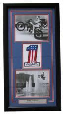 Evel Knievel Signed Framed Harley Davidson Number 1 Collage PSA