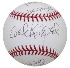 Evel Knievel Signed Heavily Inscribed Baseball Caesars Palace, Las Vegas JSA COA