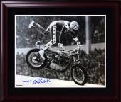 Evel Knievel signed woops 16x20 photo framed autograph pic of him signing COA