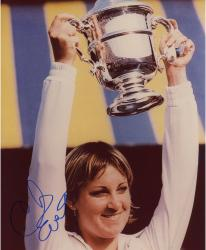 Chris Evert Autographed 8'' x 10'' Holding Up Cup Photograph
