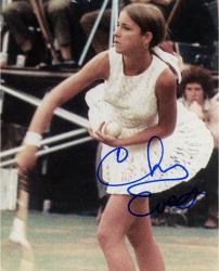 Chris Evert Autographed 8'' x 10'' Swinging Racquet Photograph