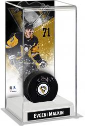 Evgeni Malkin Pittsburgh Penguins Autographed Puck with Deluxe Tall Hockey Puck Case