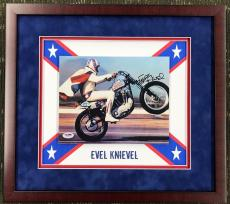 EVIL KNIEVEL d.2007 authentic signed 8x10 custom framed display-PSA COA