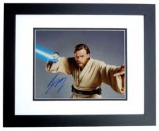 Ewan McGregor Autographed STAR WARS 11x14 Photo BLACK CUSTOM FRAME