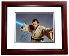 Ewan McGregor Autographed STAR WARS 11x14 Photo MAHOGANY CUSTOM FRAME