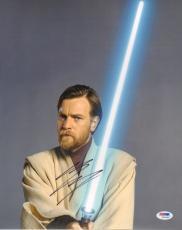 "EWAN McGREGOR ""Obi Wan Kenobi"" Signed STAR WARS 11x14 Photo PSA/DNA #V93288"