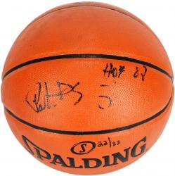 Patrick Ewing New York Knicks Autographed Spalding Indoor Outdoor Basketball with HOF 08 Inscriptions-Limited Edition of 33