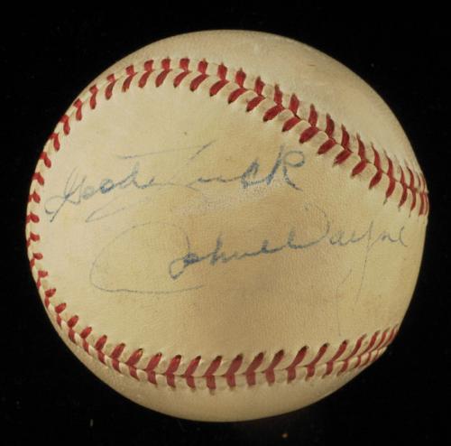 Extraordinary John Wayne Single Signed 1950's American League Baseball JSA COA