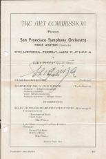 Ezio Pinza Signed Vintage San Francisco Orchestra Program Page JSA